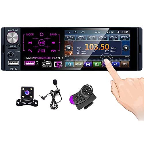 CAMECHO Bluetooth Car Radio 4    Pantalla táctil capacitiva 1 DIN. Estéreo FM Am RDS Radio con Doble Puerto USB AUX-in SD Puerto + Cámara de Respaldo + Control del Volante