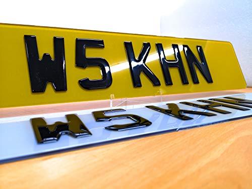 3D Black Domed Raised Gel UK Font Car Number Plates