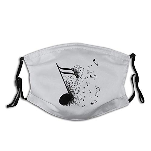 Note Instrument Musical Listening Face Mask Scarf, Anti Dust Washable Reusable With Filters, For Adults Men Women