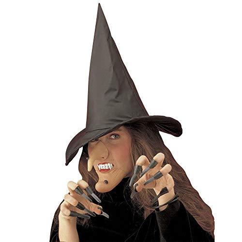 WIDMANN- Witch Strega Set Travestimento Cappello Naso Mento Dentiera Unghie Costume Donna, Multicolore, Taglia unica, 8.00356E+12