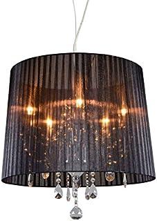 QAZQA Clásico/Antiguo Lámpara de araña clásica cromada pantalla negra - ANN-KATHRIN 5 Vidrio/Metálica/Textil Redonda Adecuado para LED Max. 5 x 60 Watt