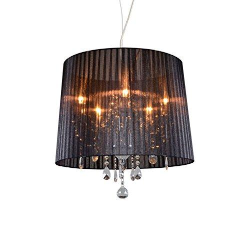 QAZQA Klassisch/Antik/Landhaus/Vintage/Rustikal/Modern Klassischer Kronleuchter/Chandelier Chrom mit schwarzem Schirm - Ann-Kathrin 5-flammig/Innenbeleuchtung/Wohnzimmerlampe/Schlafzim