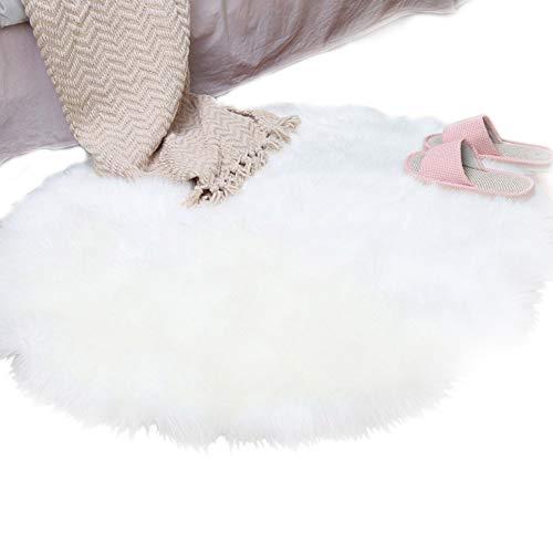 SODIAL Alfombra de Lana de Piel Sintetica de Oveja Alfombra 30 x 30 cm Estera Alfombra de cojin Silla Decorativo Pelo Largo Suave Mullido (Redondo Blanco)
