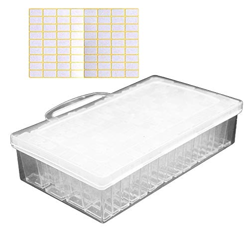 Vegena Diamond Painting Box, 64 Fächer 5D Diamant Malerei Aufbewahrungsbox Stickerei Sortierbox Schmuckschatullen Kunststoff Schmuck Organizer für Schmuck DIY Handwerk Nägel Strass Perlen