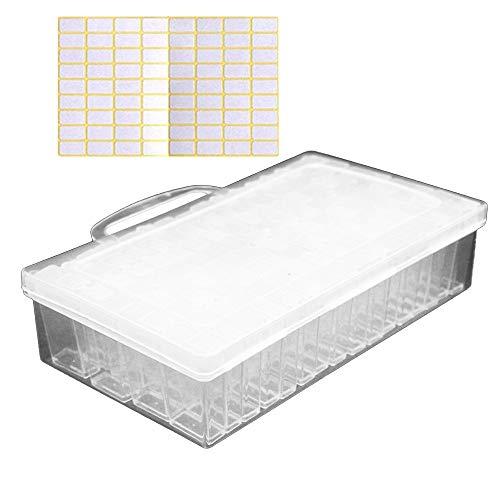 Vegena Diamond Painting Box, 64 Fächer 5D Diamant Malerei Aufbewahrungsbox Stickerei Sortierbox Schmuckschatullen Kunststoff Schmuck Organizer für Schmuck DIY Handwerk Nägel Strass Perlen