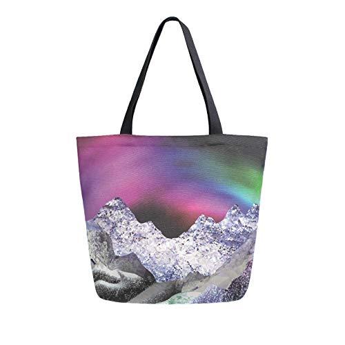 Ahomy Reusable Canvas Grocery Tote Bags, Aurora Snow Mountain Women Handbag Shopping Tote Work School
