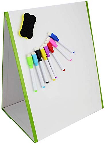 Magnetic White Board for Kids, 8 Dry Erase Board Markers and Eraser, Portable Self-Standing and Double Sided Educational Tabletop Easel from FLASHPOINT XS
