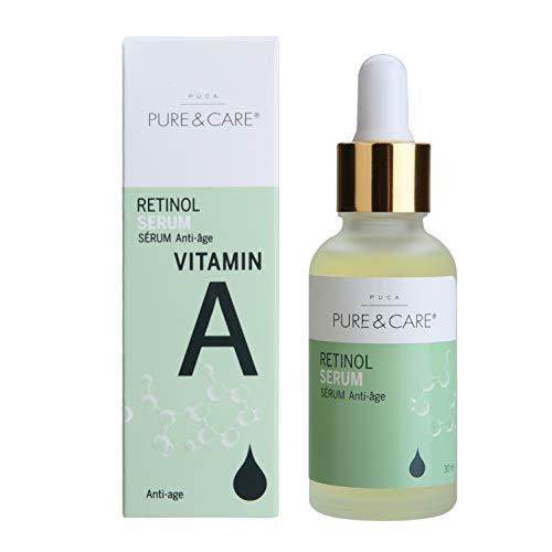 PUCA PURE & CARE   Retinol Serum   30ml   Gegen Falten und Sonnenschäden im Gesicht   Vitamin A, Oligopeptide und Pflanzenextrakte wirken Adstringierend und Straffend   Für...
