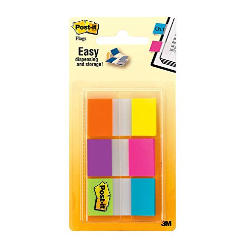Post-it Flags, 60/On-The-Go Dispenser.47 in Wide, Alternating Electric Glow Collection (680-EG-ALT)