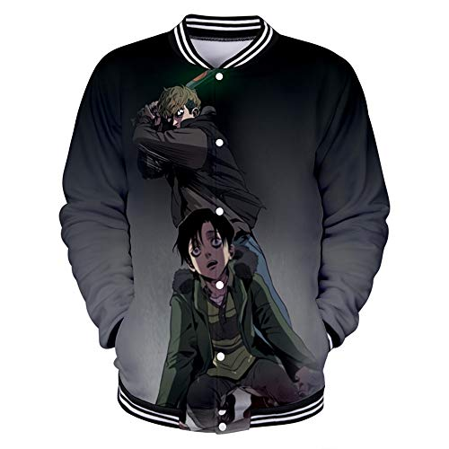 Anime Killing Stalking Sweatshirt Pullover Kapuzenpullover Rundhalsausschnitt Langarm Buttons Half Zip Hooded Sweater Jacke Yoon Bum Sangwoo Cosplay Kostüm Mantel Sportswear für Frauen Männer