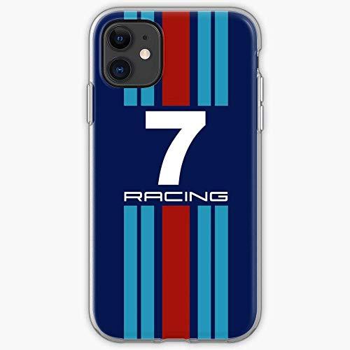 Twinyarh Compatibile con iPhone 6 6s 7 Plus 8 Plus X XS XR 11 PRO Max SE 12 PRO Max Custodie Motorsport Colours Porsche Le Mans Racing Martini Car Pure Clear Custodie per Telefoni Cover