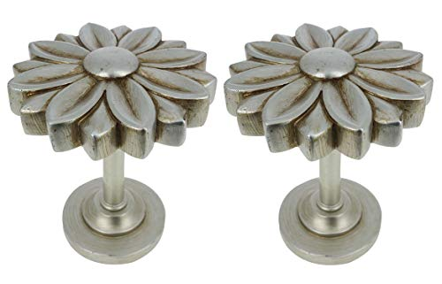MERIVILLE Set of 2 Blossom Window Drapery Medallion Holdbacks, Curtain Tiebacks, Wall Hook, Tassel Holder, Bronze