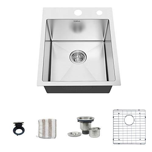 TORVA 18-Inch Drop-in Kitchen Sink, 16 Gauge Stainless Steel Topmount Single Bowl - 9 Inches Deep Bar/Prep Basin