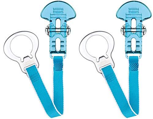 MAM Schnullerklammern, 2 Stück, Baby Schnullerkette passend für alle MAM Schnuller, Neugeborene Essentials, blau mit blauem Gurt (Schnuller nicht enthalten)