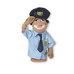 """ENTERTAINING POLICE OFFICER PUPPET: The Melissa & Doug Police Officer Puppet, Cyrus """"Cy"""" Wren, is an easy to manipulate hand puppet with a detachable wooden rod to assist with animated gestures. WORKS WITH LEFT OR RIGHT HANDS: We've designed our poli..."""