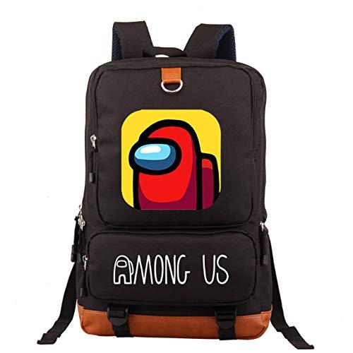 Among Us Bag, Mochila escolar para niños y niños de deportes entre nosotros bolsa para niños mochila negra mochila para ordenador portátil de los niños de dibujos animados para libros (negro)