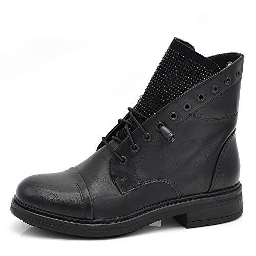 IF Fashion Stivaletti Stivali Invernali Scarpe da Donna Lacci Anfibi Strass IF163 Nero 39