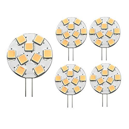 lighteu® 2018 neu! 5X Lampe G4 9 SMD warmweiß(2900K, 1.3 W, ersetzt 20W Glühlampe, 200lm, GU4 Stiftsockel 12V DC, Leuchtmittel 110° Farbwiedergabe (CRI): > 80 Ra [Energieklasse A++]