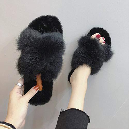 SWX-FlipFlop Zapatillas de otoño e Invierno Zapatillas de Color Liso Zapatos de algodón Europeos y Americanos Zapatillas de algodón Zapatos Negros 39