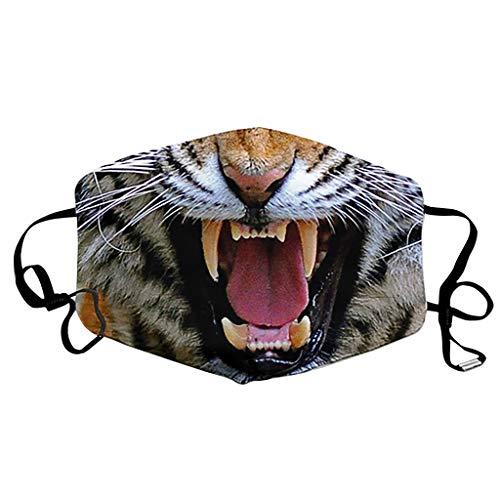 1/3/6PC Funny Animal Characters Print Face Bandanas,yxcmeoa Adjustable Rope Breathable Washable Work School(B-1PC)