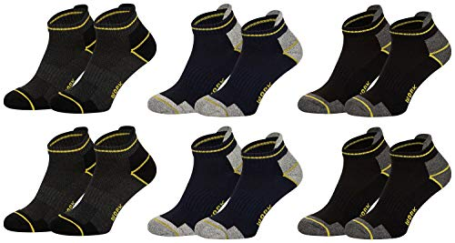 Tobeni 6 Paar Sneaker-Socken - Kurze Arbeitssocken für Herren - Füsslinge mit verstärkter Ferse und Spitze Farbe Farbig sortiert Grösse 43-46