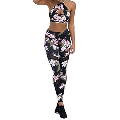 HaiDean Sportpak voor dames, yoga, boh, chic, leggings, sportset, bloemenmotief, elasticiteit, T-sportwear, fitness, dames, hemd, broek, yoga, workout, joggen, lopen
