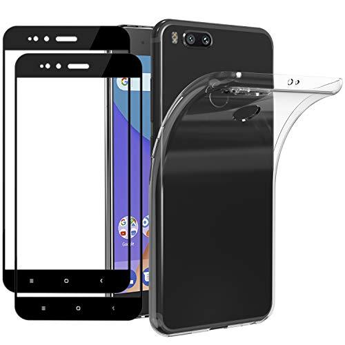 ivoler Funda para Xiaomi Mi A1 + 2 Unidades [Cobertura Completa] Cristal Templado, Transparente TPU Silicona Carcasa Caso + Vidrio Templado Protector de Pantalla para Xiaomi Mi A1