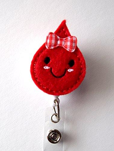 Betty Blood Drop - Retractable ID Badge Reel - Teacher Badge Holder - Cute Badge Reel - Nurse Badge Holder - Nursing Badge Clip - Felt Badge Photo #2