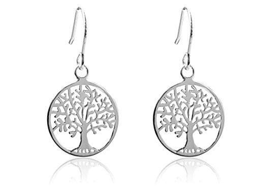 925 Solid Sterling Silver Tree Of Life Hook Earrings