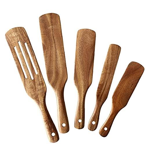Runfun Espátula de Madera Utensilios de Cocina Conjunto de Utensilios de Cocina de Madera de Teca Natural con Agujero para Colgar 5PCS