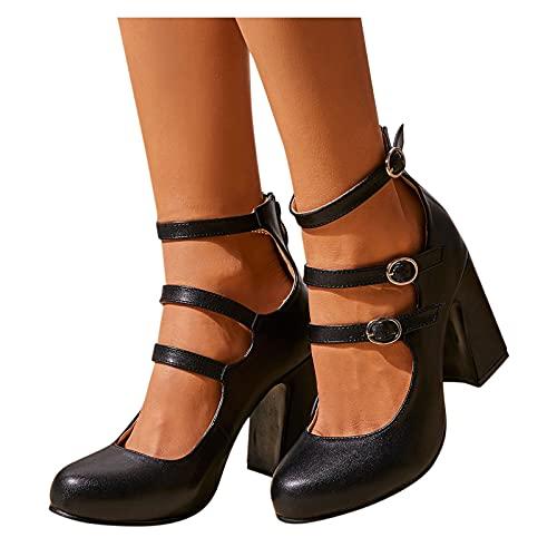 Botas Cortas Al Tobillo Mujer Redondo Toe de Piel Botines Mujer de Casual Retro con Hebilla Zapatillas de Tacón Otoño Invierno de Elegantes Romanas Zapatos Tacón de Antideslizante