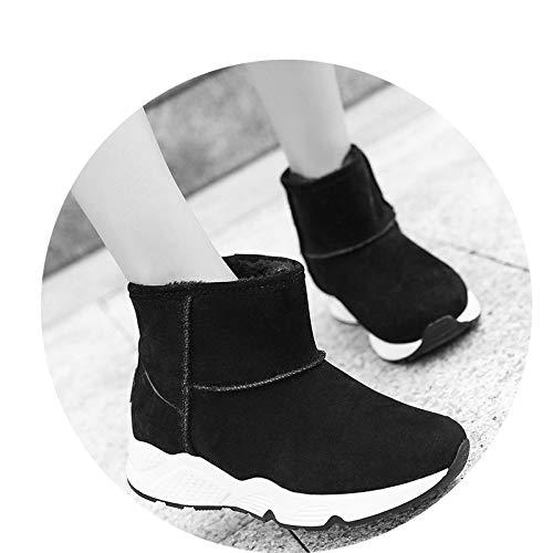 shoes Schneestiefel, Weibliche Europäische Und Amerikanische Kurze Röhre Sowie Samt-Sportschuhe, Weibliche Runde Kopf Dicke Baumwollschuhe,Schwarz,38