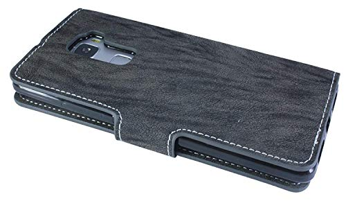 Huawei Ascend Mate S Buchtasche Hülle Case Tasche Wallet BookStyle mit STANDFUNKTION Anthrazit @ Energmix - 3