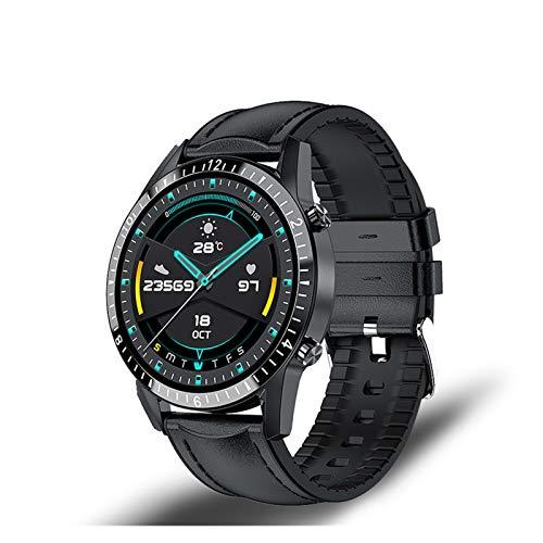 XUEXIU Smart Watch Phone Pantalla Táctil Completa Sport Fitness Watch IP68 Conexión a Prueba De Bluetooth a Prueba De Agua para Android iOS SmartWatch Hombres (Color : Leather Black)