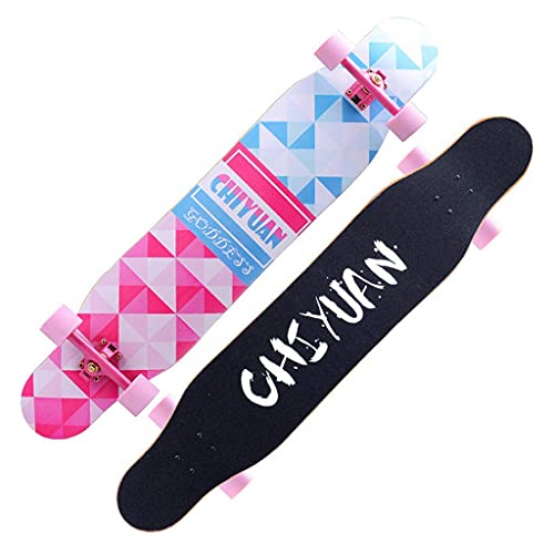 YIQIFEI Skateboards Freestyle Complete Cruiser Longboard Beginners Dancing Professional Brush Street Board 46.5'x 9.1' 7 Layer Maple Deck (Skateboard)