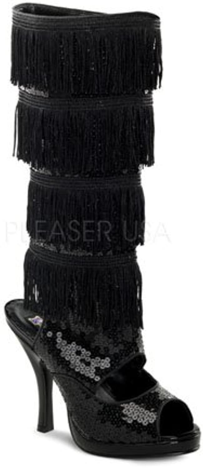 Flapper Fringe Black Sequin Knee Costume Boots