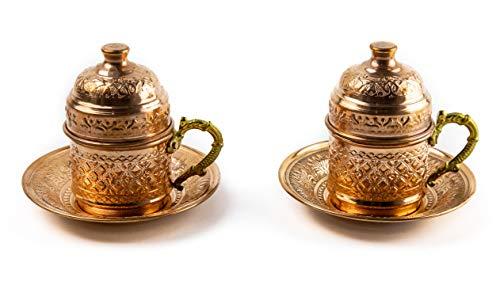 Kupfer Kaffeetassen Set für 2 Person -Espressotassen- Kaffeeset-Mokkatassen - Spezielle türkische Kaffe/Mokka tassen - Orientalische Kaffeetasse (Modell2)