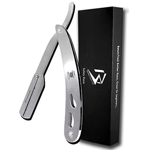 Rasiermesser aus feinstem Edelstahl - Rasur Rasiermesser, Handgefertigter Edelstahl - Etui und 10 Ersatzklingen - Salon - Friseur - Rasiermesser - Optimal für eine präzise Rasur