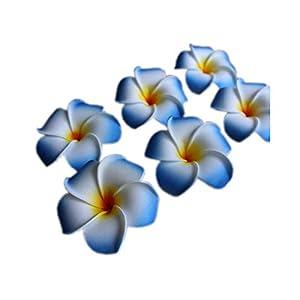 Dream-catching Dresses 10Pcs/lot Plumeria Hawaiian PE Foam Frangipani Artificial Flower Headdress Flowers Egg Flowers Wedding Decoration Party Supplies-A01-Blue-7cm