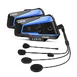 LEXIN 2pcs Interfono Moto Con Radio FM, Comunicazione Di Auricolare Bluetooth Per Casco Con Cancellazione Del Rumore, Wireless Universale Fuoristrada/Motociclo/Motoslitta (B46DJ Doppia confezione)
