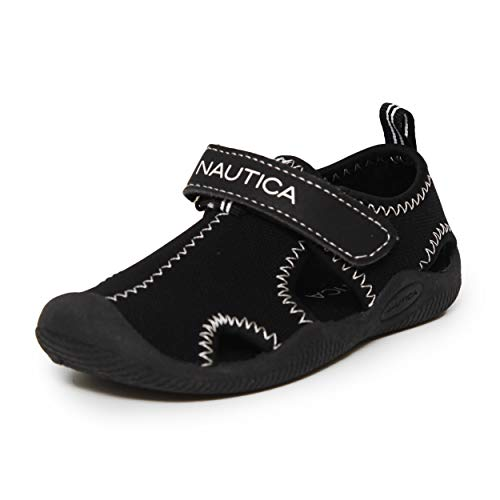 Nautica Kids Kettle Gulf Protective Water Shoe,Closed-Toe Sport Sandal For Boys and Girls-Black Small Mesh-9