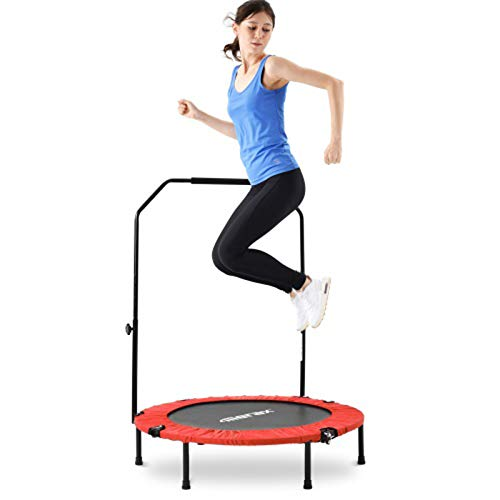 S-vision Foldable 40-inch fitness trampoline, mini trampoline with adjustable foam grip, home adult fitness trampoline, maximum load 100kg, 102cm, blue/red Blue