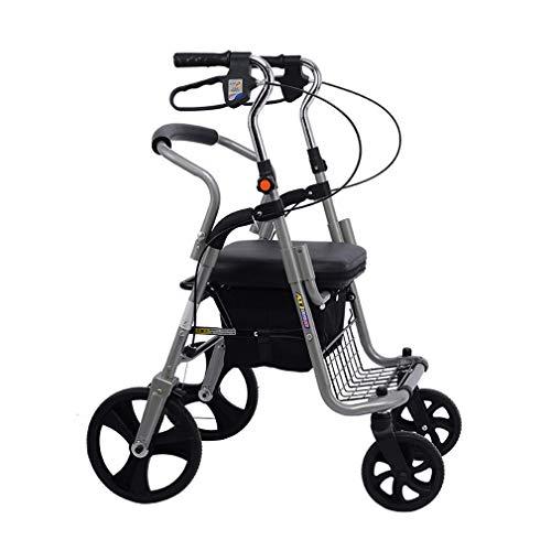 PXY Útil Ayuda para Caminar Ayudas para Caminar 4 Ruedas Portátil, Andador Médico Caminante con Pedal, Caminante de Conducir con un Respaldo Cómodo, un Sistema de Doble Freno, Usado para Personas May