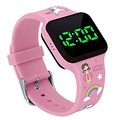 Potty Training Count Down Timer Watch with Lights and Music - Rechargeable, Princess Pink Band Engaging Pattern, Potty Training Watch Pink - (No Vibration and Alarm Mode)