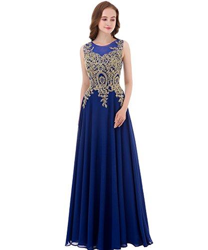 Kivary Gold Lace A Line Long Chiffon Women Formal Corset Prom Evening Dresses (Apparel)