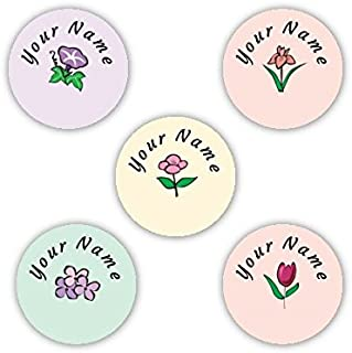 Personalized Waterproof No-Sew Laundry Safe Stick-on Label Dots for Clothing (Flowers Theme)