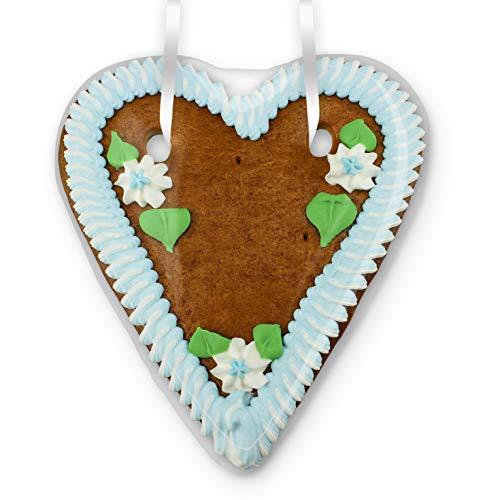 Lebkuchenherz Rohling 20cm mit Rand & Deko - blau-weiß | Herz zum Selbstbeschriften mit eigenem Spruch Wunschtext bayerisch blau-weiß Geschenke selber machen gestalten DIY von LEBKUCHEN WELT