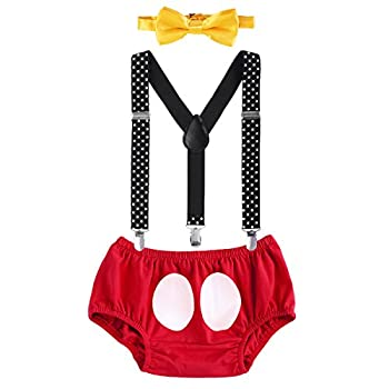 Baby Boys Cake Smash Outfit First 1st 2nd Birthday Christmas Bloomers Diaper Cover + Elastic Y-back Suspenders + Bow Tie 3Pcs Set for Photo Shoot Formal Wedding Party Costume Red+Black 3-6M