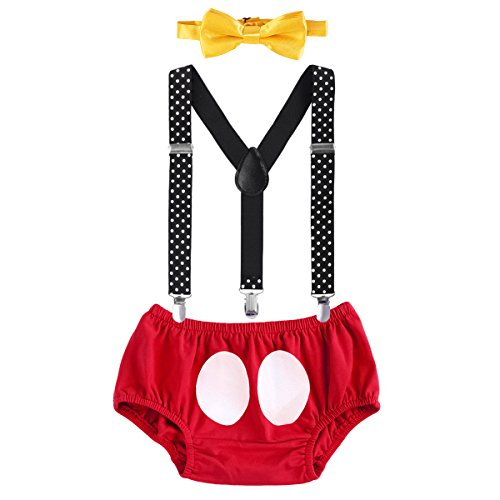 Christmas Cake Smash Mickey Outfit Baby Boys First 1st 2nd Birthday Party Bloomers Bowtie Y-Back Clip Suspenders Diaper Cover Photography Props Costume 3pcs Clothes Set Red + Black 12-18 Months