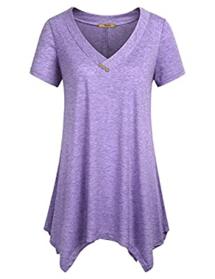 Miusey Casual Loose Tops for Women, Ladies Tunic Tee Short Sleeve Shirts V Neck Summer Handkerchief Hem Flowy Lightweight Long Pleated Comfy A Line Swing Blouses Purple M